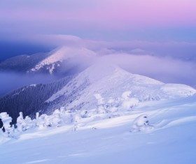 Winter landscape with A dawn in mountains Stock Photo 19