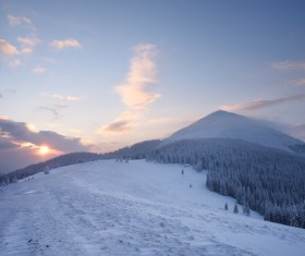 Winter landscape with A dawn in mountains Stock Photo 21