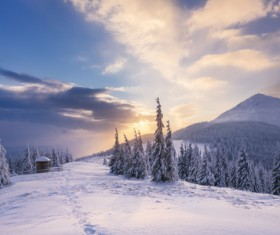 Winter landscape with A dawn in mountains Stock Photo 22