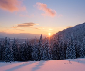Winter landscape with A dawn in mountains Stock Photo 23