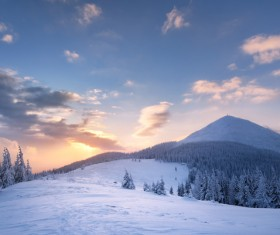 Winter landscape with A dawn in mountains Stock Photo 24