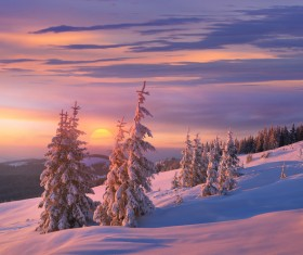 Winter landscape with A dawn in mountains Stock Photo 26