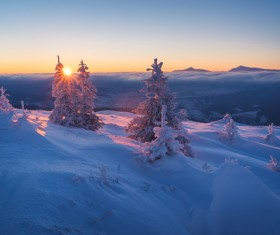 Winter landscape with A dawn in mountains Stock Photo 30