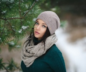 Winter outdoor lovely girl with pine branches Stock Photo 02