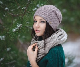 Winter outdoor lovely girl with pine branches Stock Photo 03