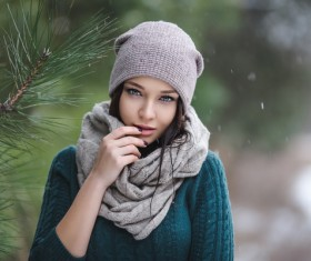 Winter outdoor lovely girl with pine branches Stock Photo 05