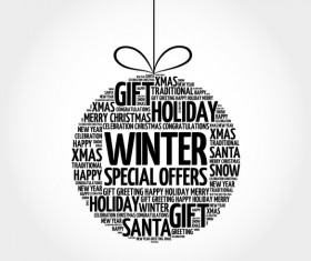 Winter special offers with word cloud christmas ball vector