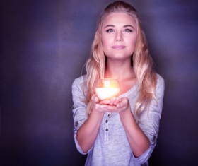 Woman holding candlelight HD picture 01