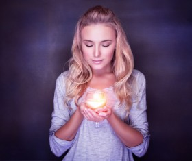 Woman holding candlelight HD picture 03