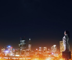 Woman looking at night city stock photo 06