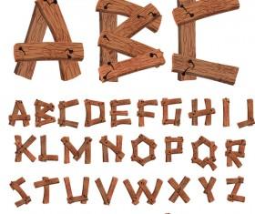 Wood textures alphabet and numbers vectors