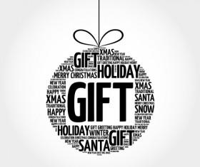 Word cloud christmas ball with gift vector