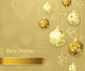 Xmas balls beige gold with yellow background vector