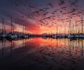Yacht sunrise sea of clouds HD picture