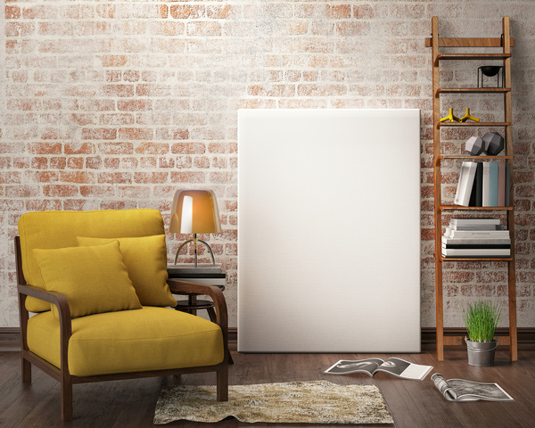 Yellow sofa with white frame against the wall hd picture - Interiors by design picture frames ...