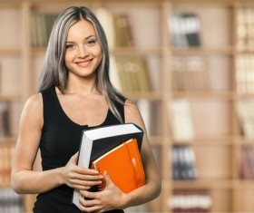 Young girl with books HD picture 01