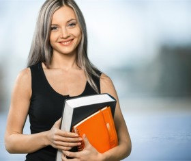 Young girl with books HD picture 03