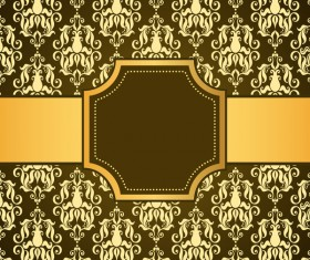 brown decor pattern background with golden frame vector 01