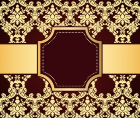brown decor pattern background with golden frame vector 02
