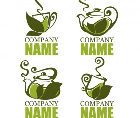 green tea logos design vector