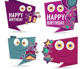 happy birthday monsters labels vector