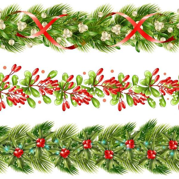 Holly Border Christmas Decor Vector Free Download