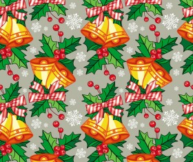 holly with bells seamless pattern christmas vector 01