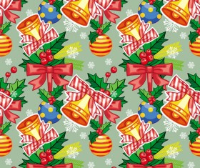 holly with bells seamless pattern christmas vector 02