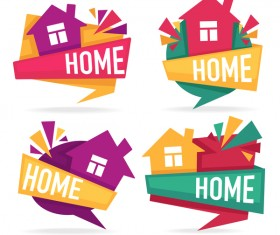 home stickers vector set