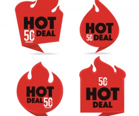 hot deal red labels vector