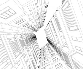 skyscrapers structure architecture vector illustration