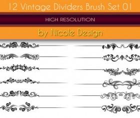 12 Kind vintage dividers photoshop brushes