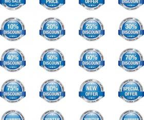 20 Kind blue big sale badge vector