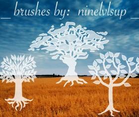 3 Tree Brushes photoshop brushes