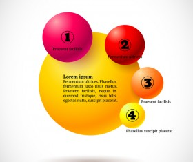 3D colored balls with numbered infographics vector 01