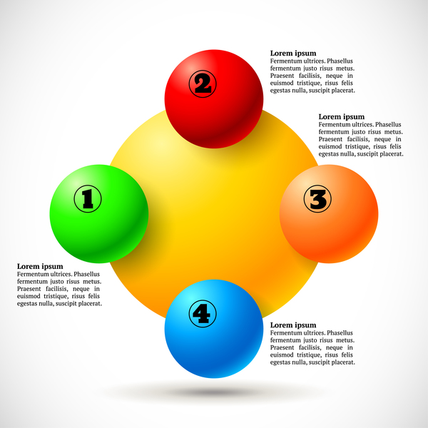 3D colored balls with numbered infographics vector 02