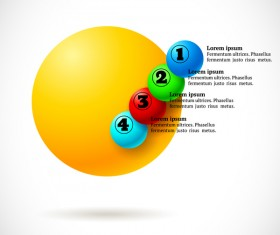 3D colored balls with numbered infographics vector 04