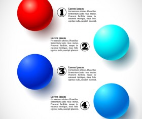 3D colored balls with numbered infographics vector 07