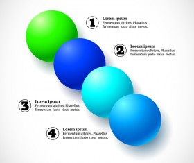 3D colored balls with numbered infographics vector 09