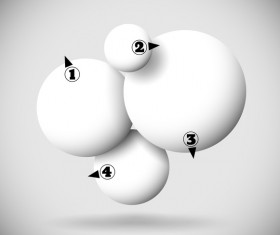 3D white balls with numbered vector 02