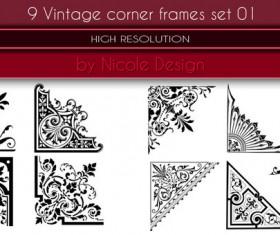 9 Vintage corner frames photoshop brushes