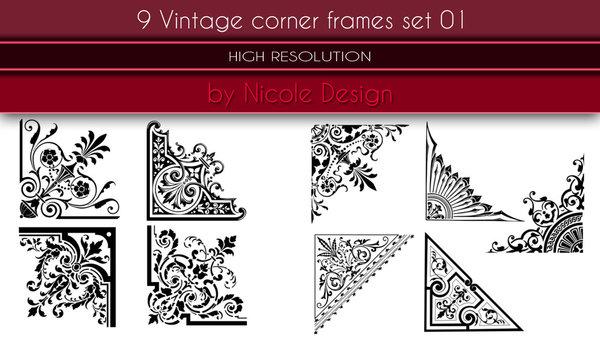 9 Vintage Corner Frames Photoshop Brushes Free Download