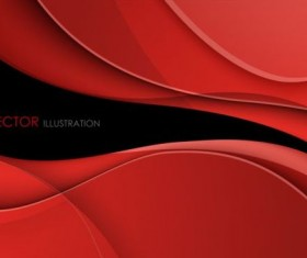 Abstract red waves with data stream concept vector background