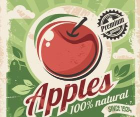 Apple poster vintage vector design 02