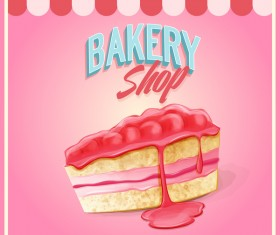 Bakery shop pink background vector 02