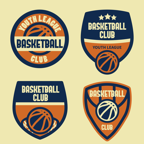 Baskat ball badges vintage vector