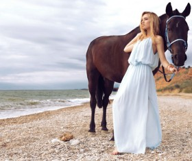 Beach beauty and horse HD picture 01