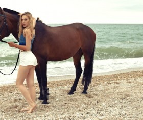 Beach beauty and horse HD picture 02
