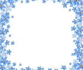 Beautiful blue flower frame vectors