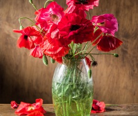 Beautiful dahlias and vases Stock Photo